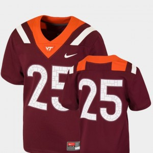 Youth(Kids) Football VT #25 Team Replica college Jersey - Maroon