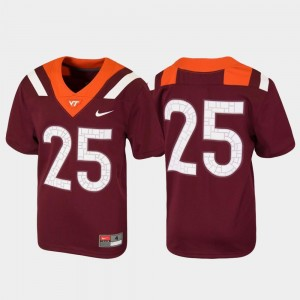 Youth(Kids) Untouchable #25 Football VT college Jersey - Maroon
