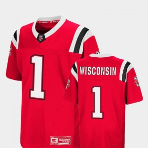 Youth(Kids) #1 Badgers Colosseum Foos-Ball Football college Jersey - Red