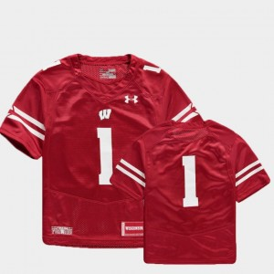 Youth Finished Replica #1 Football Wisconsin college Jersey - Red