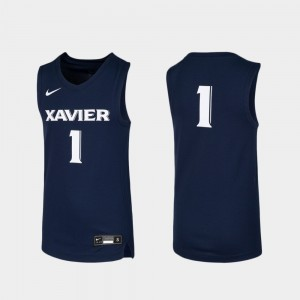 Youth Basketball Xavier #1 Replica college Jersey - Navy
